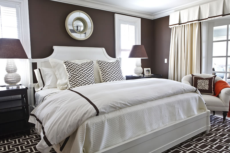 white and brown bedroom