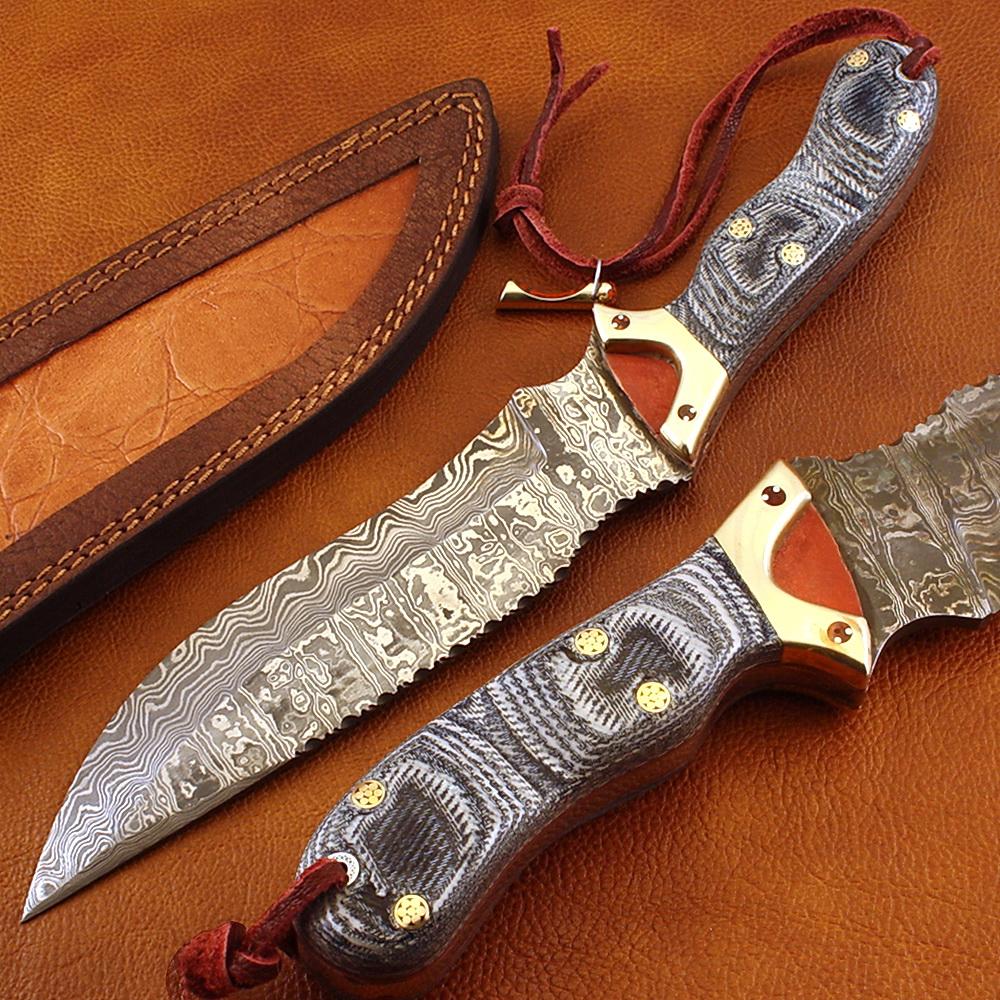 Damascus World Custom Handmade Damascus Hunting Knife