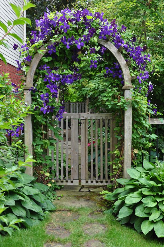gate with curved top and flowers