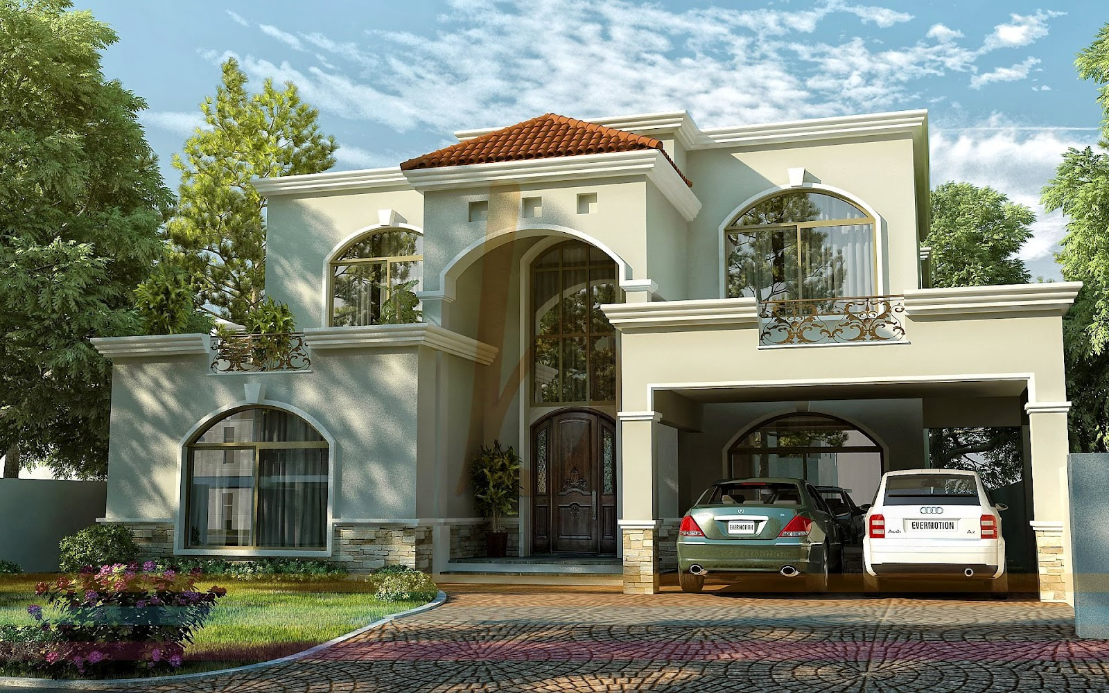 3D Front Elevationcom DHA Lahore 1 Kanal Modern Contemporary