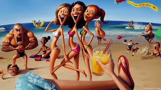 Funny Beach Cartoon Wallpaper