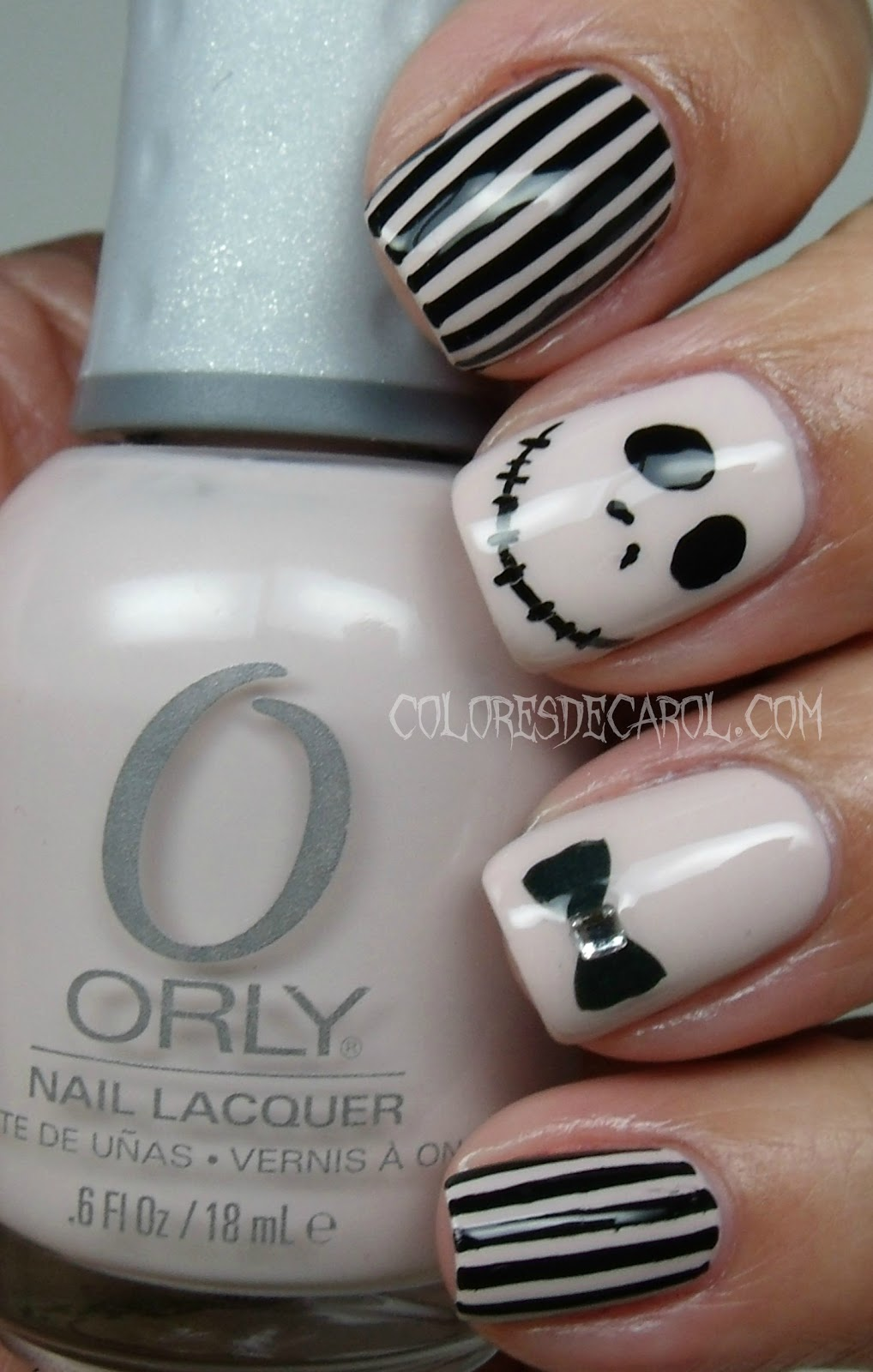 Colores de Carol: Jack Skellington - Halloween Manicure
