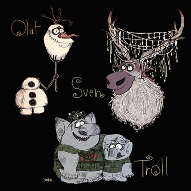 """Sven, Olaff y los Trolls de """"Frozen"""" al estilo Tim Burton"""