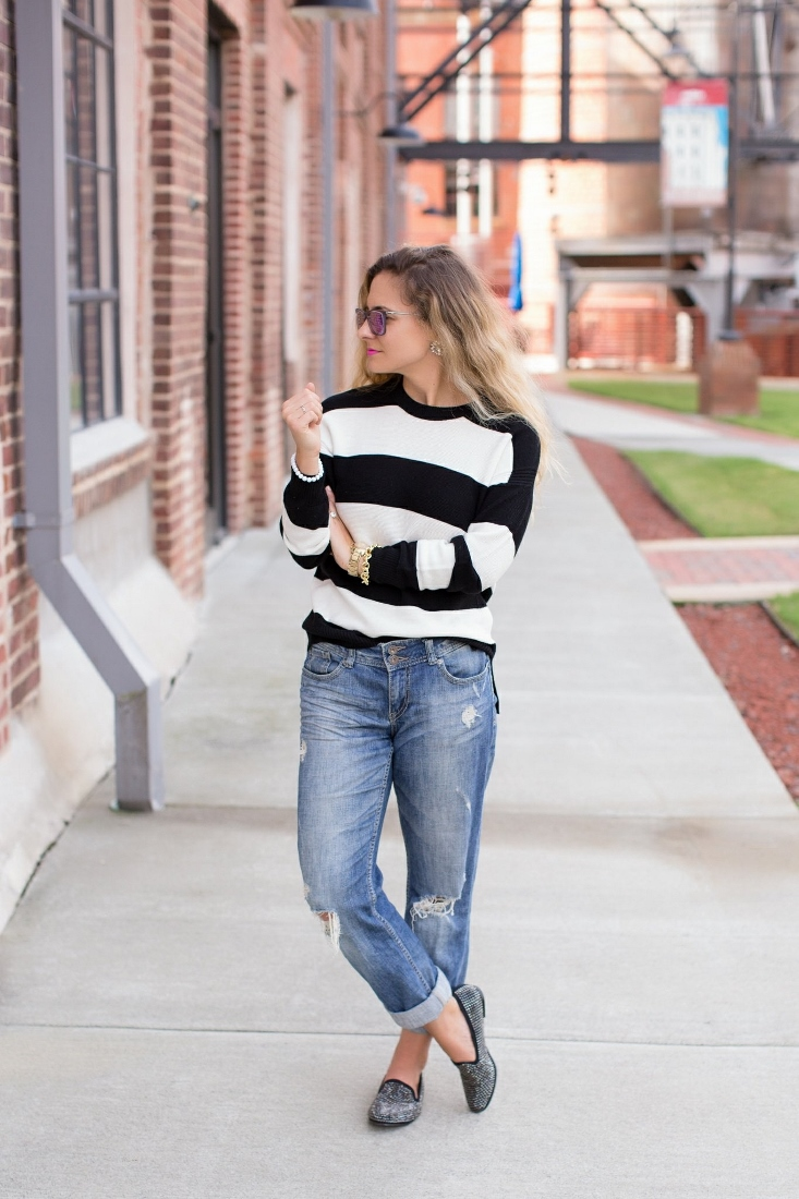 Express Boyfriend Jeans with studded loafers