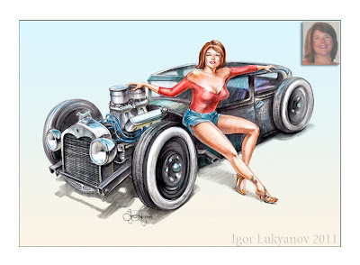 custom pin-up drawing, rat rod