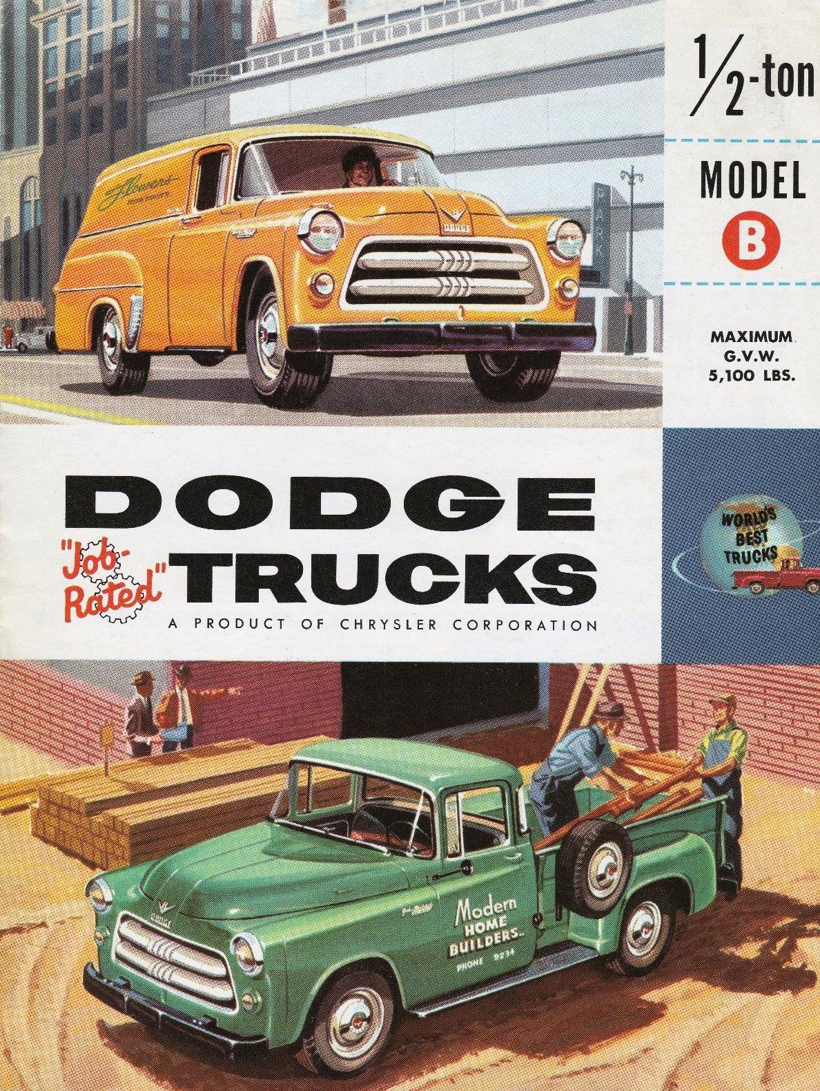 Transpress Nz 1954 Dodge Ton Model B Pickup And Panel Trucks Truck
