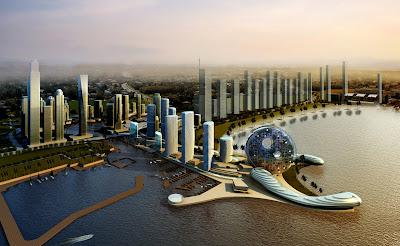 Futuristic Architecture Promenade Dubai Skyscrapers HD Desktop Wallpaper