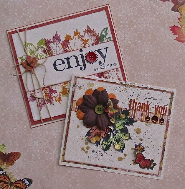 Cards by Megan Gourlay using BoBunny Falling Leaves Stamps and Enchanted Forest