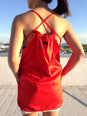 Y-3 by Yohji Yamamoto Red Tie Mini Dress - ShopMyCloset