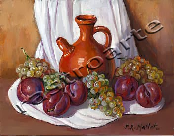 Bodegón con bucaro, uvas y ciruelas