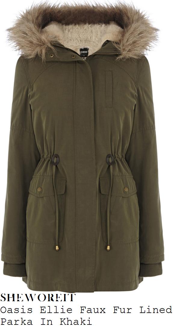 michelle-keegan-tina-mcintyre-khaki-green-fur-lined-hooded-parka-coat-coronation-street