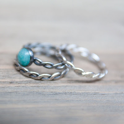 silver twist stacking rings, handmade