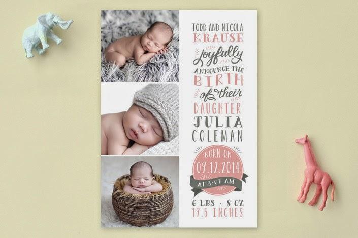 baby girl photo card birth announcement