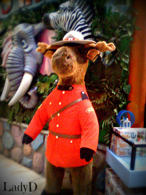 stuffed moose in toy store