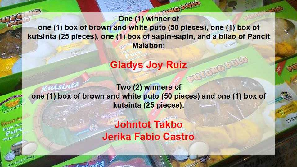 PUTONG POLO GIVEAWAY WINNERS