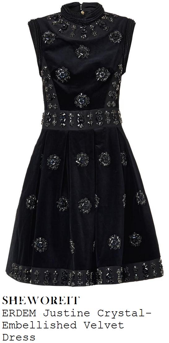 sarah-jane-crawford-black-velvet-and-silk-crystal-gem-embellished-pleated-sleeveless-dress-xtra-factor