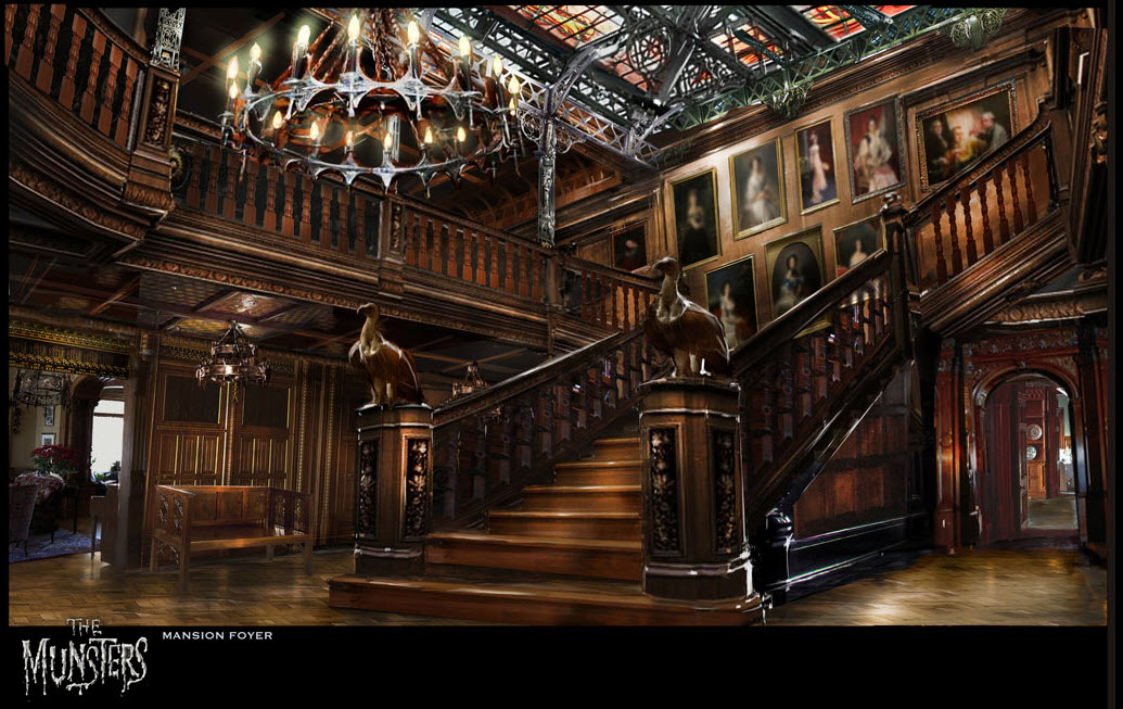 The 39 mockingbird lane 39 concepts you didn 39 t see film sketchr for Mansion foyer designs