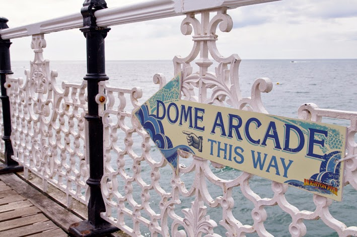 brighton pier, dome arcade retro style sign