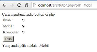 Radio Button dengan PHP