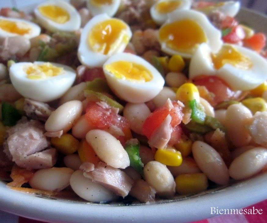 ensalada de alubias con huevos de codormiz 1