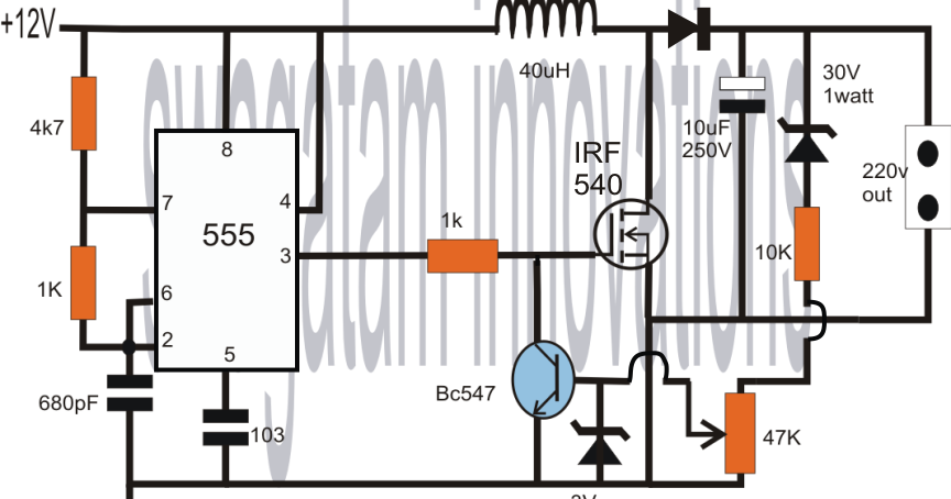 Electronic Circuit Projects: How to Convert 12V DC to 220V AC Using IC555 Boost Circuit