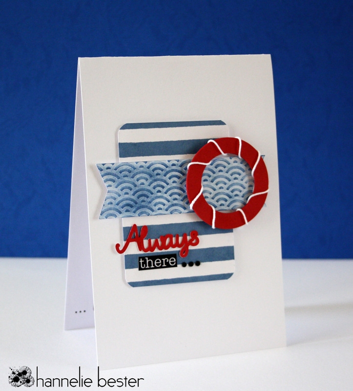 nautical card - stripes- life buoy