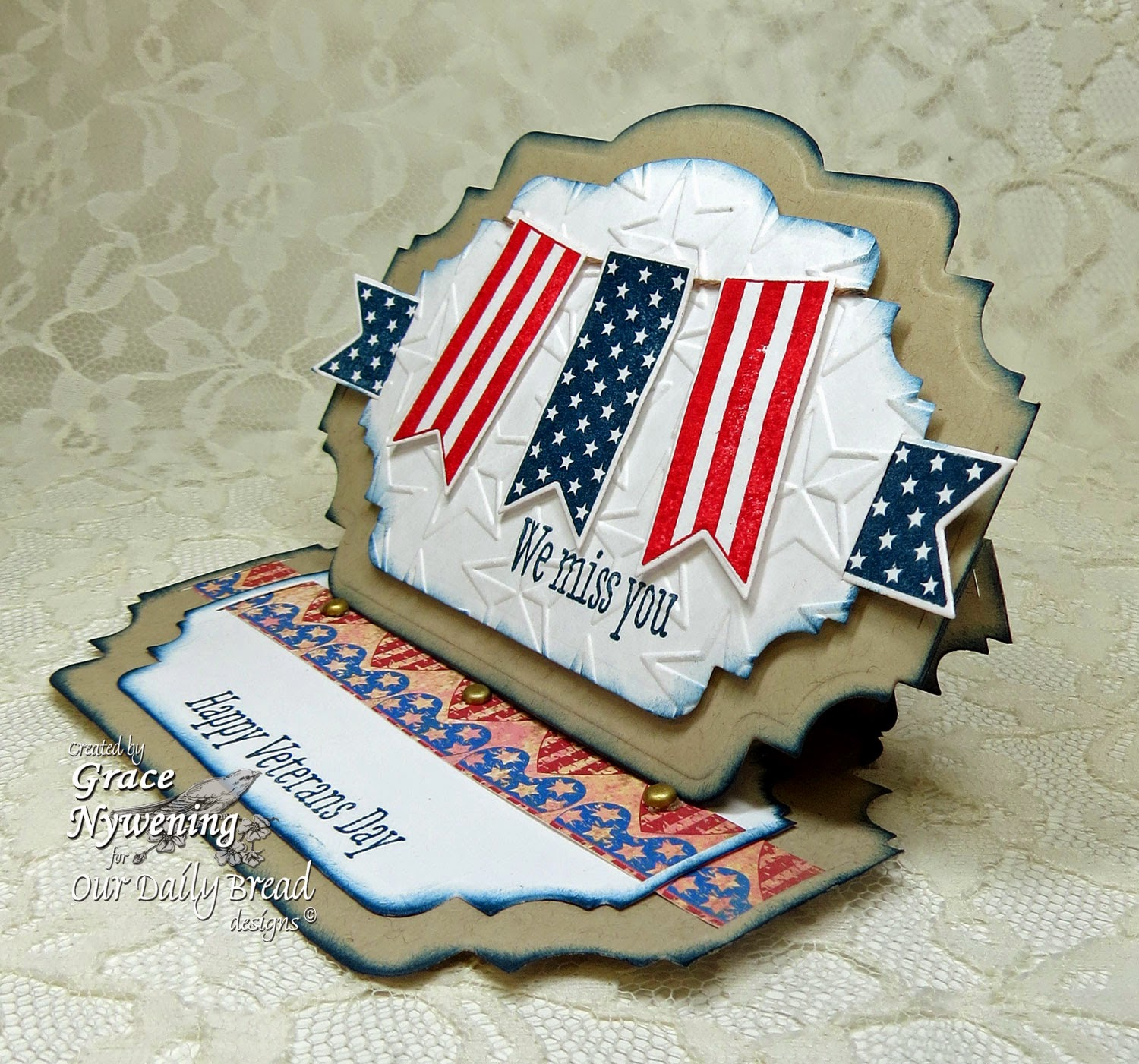 ODBD Stamps Patriotic Pennants, designed by Grace Nywening