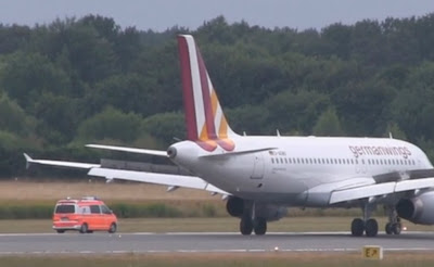 A Germanwings Airbus A319-100 was greeted by emergency vehicles at Hamburg Airport