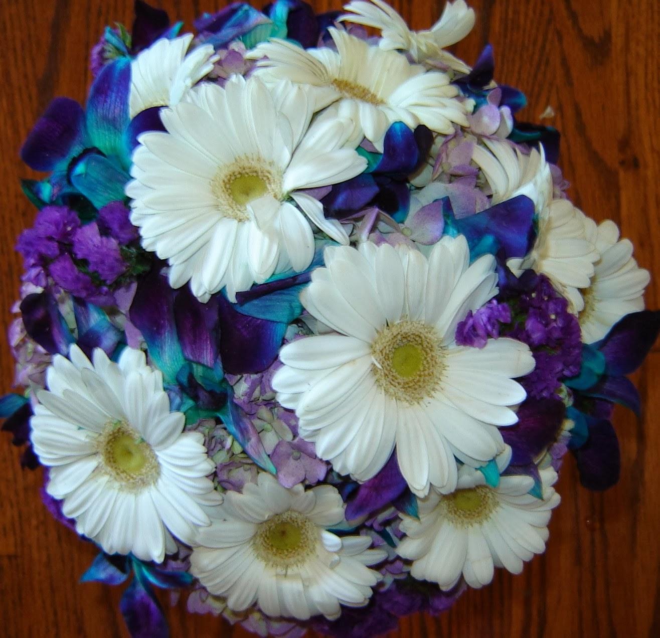 Pressed Garden: Amy\'s Pretty Blue, Purple and White Bridal Bouquet ~
