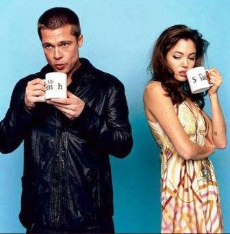 angelina jolie and brad pitt drinking together