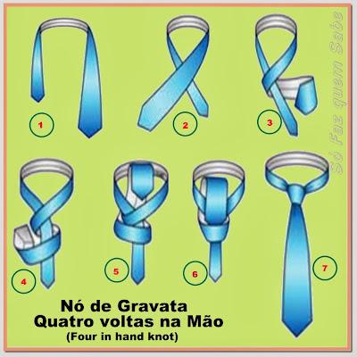 Nó de gravata simples - quatro voltas na mão - Four in hand knot.