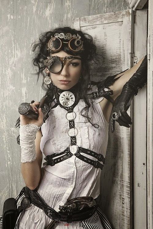 steampunk accessories harness goggles gloves jewelry gun blouse sexy fashion