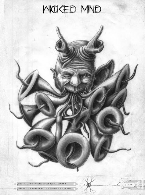 Wicked mind pencil drawing art artist surreal people world