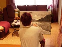 Trabajando en una de mis Pinturas