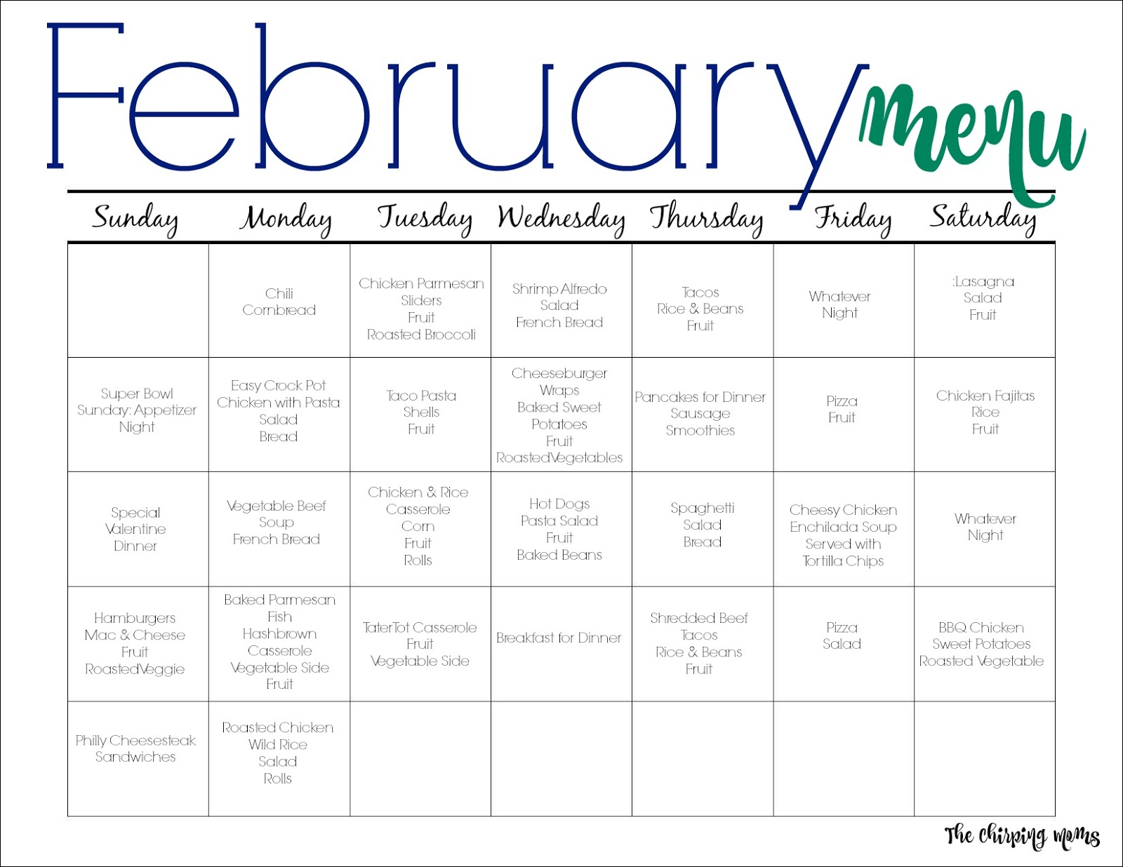 picture relating to Printable Meal Calendar referred to as February Evening meal Application for Households (Totally free Printable) - The