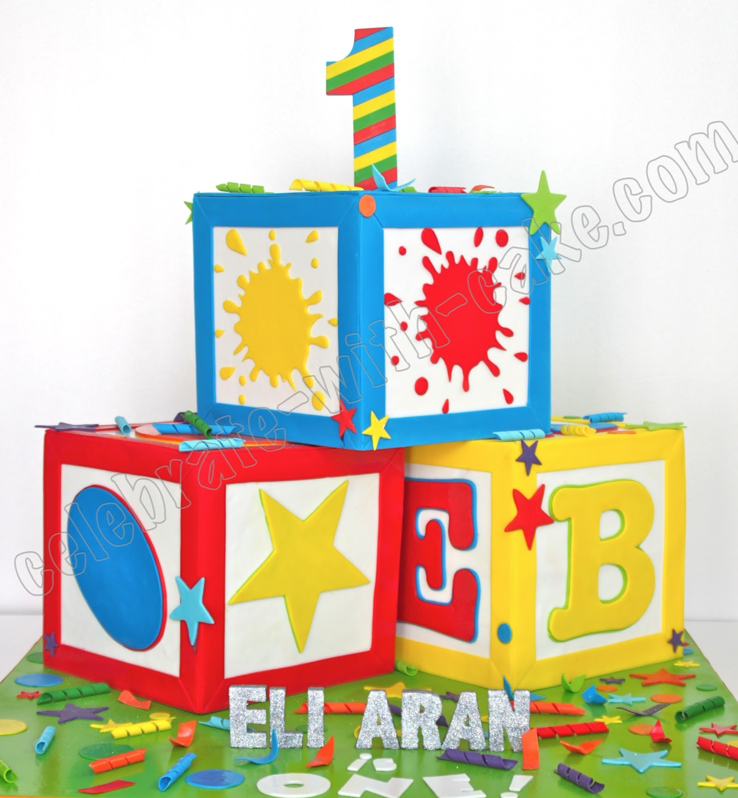 Celebrate with cake giant alphabet blocks cake for Alphabet blocks cake decoration