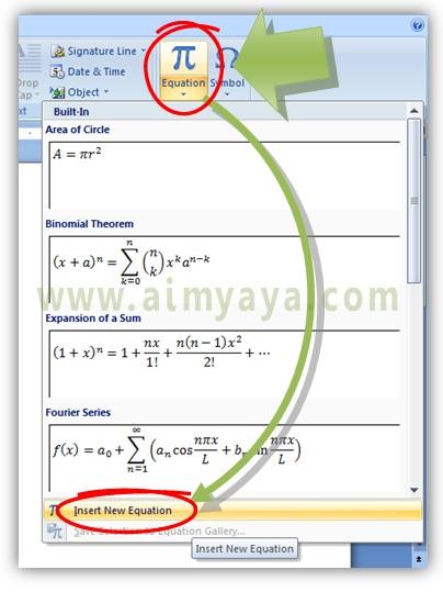Gambar: Cara menyisipkan equation di Microsoft Word