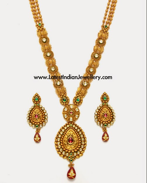 Latest Antique Gold Kundan Haram