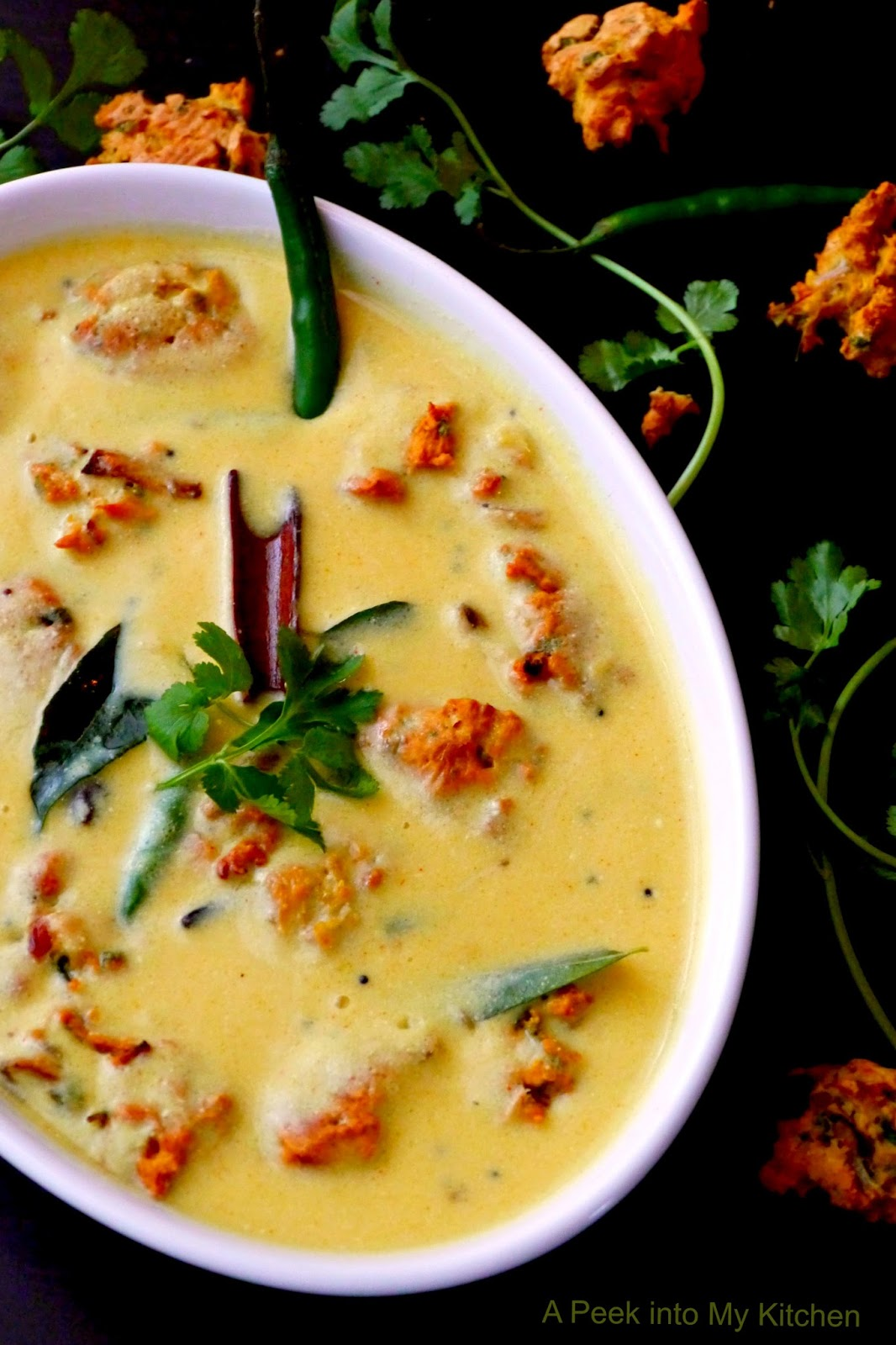 A peek into my kitchen kadhi pakora baked version spiced yogurt kadhi pakora baked version spiced yogurt soup with chickpea dumplings day 32 forumfinder Image collections
