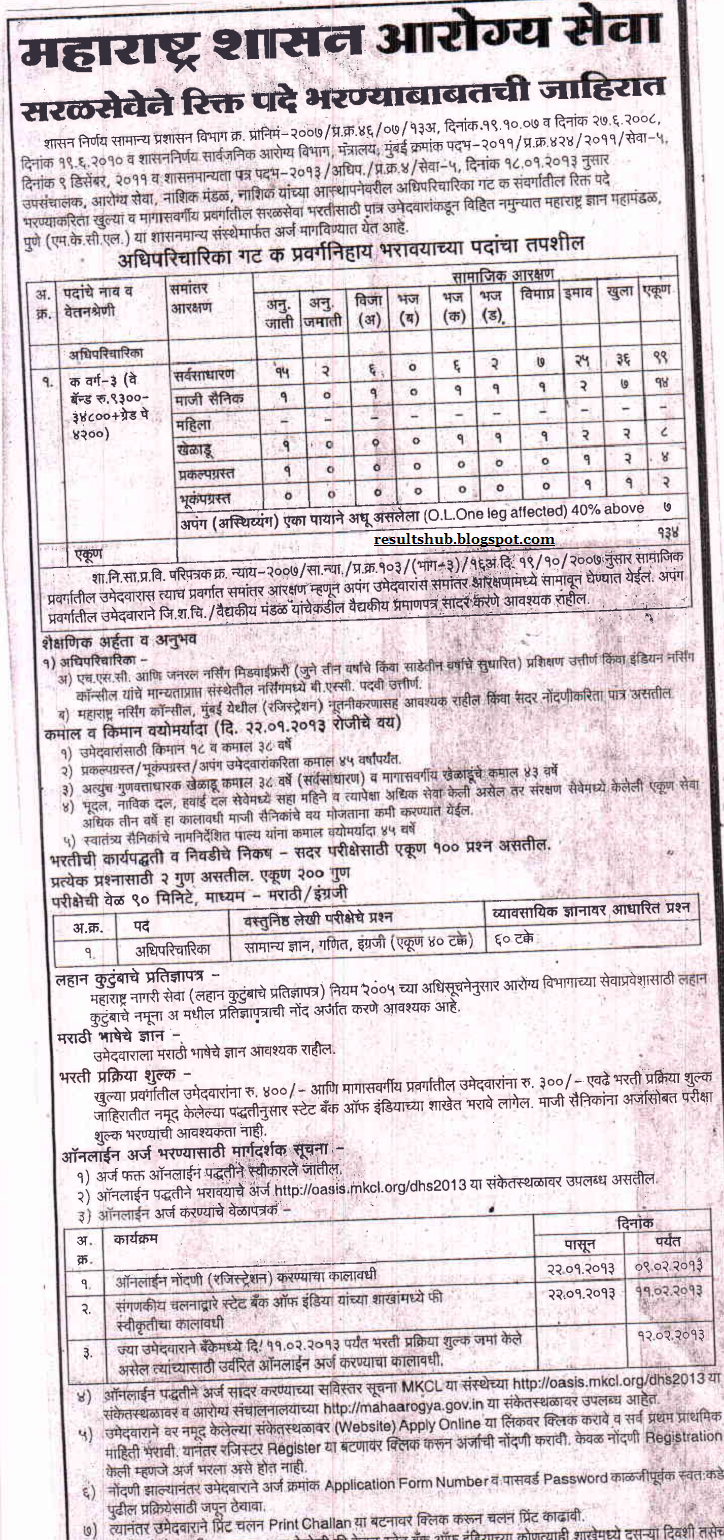 MKCL Nurse Recruitment 2013 Public Health Department