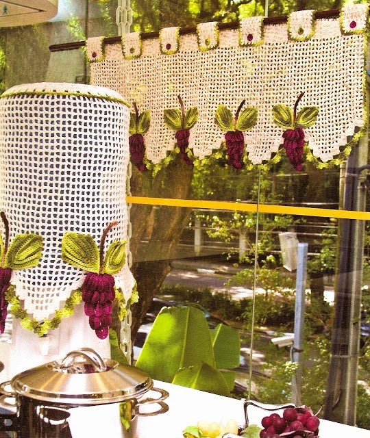 Croche com receita como fazer band para cortina em croch for Cortinas de gancho para cocina
