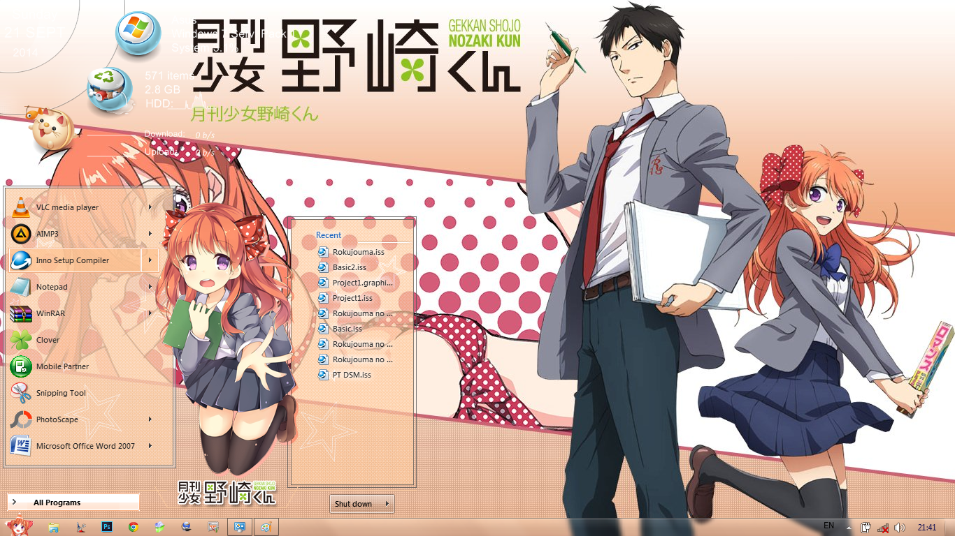[Theme Win 7] Gekkan Shoujo Nozaki-kun By Bashkara
