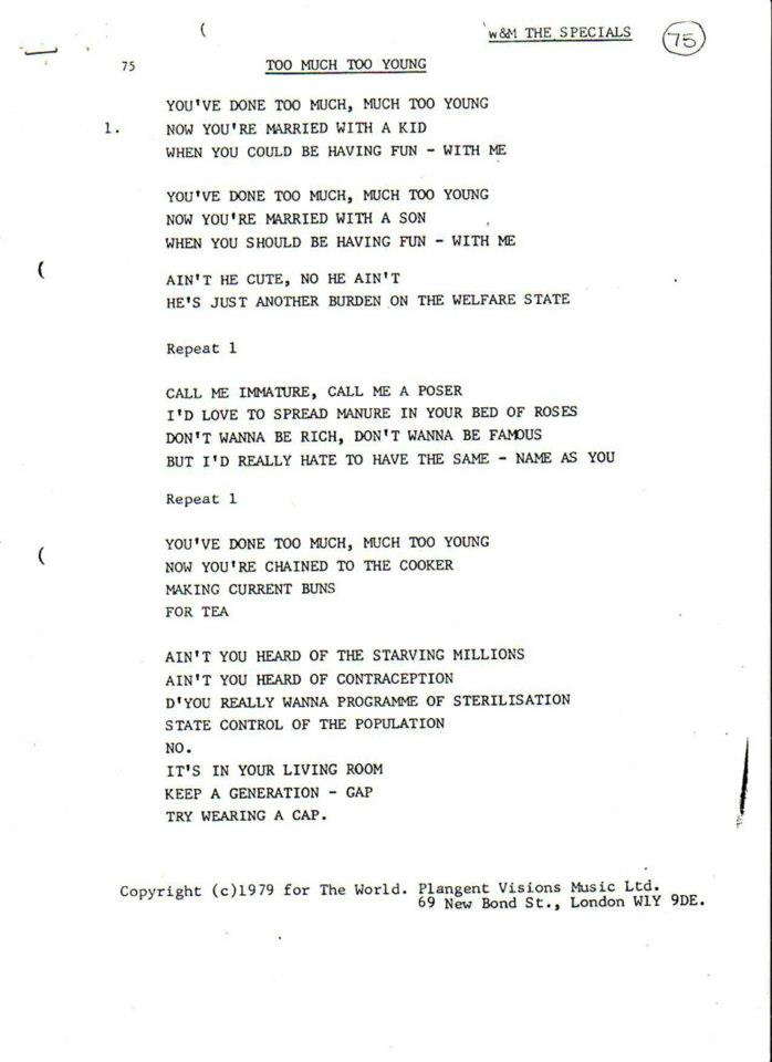Marco On The Bass: Rare Chrysalis Records Song Lyric Sheets From ...