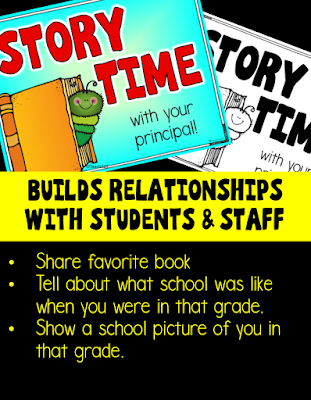 Story Time with the Principal - A terrific way to build relationships with students and staff! Great post with free resources!