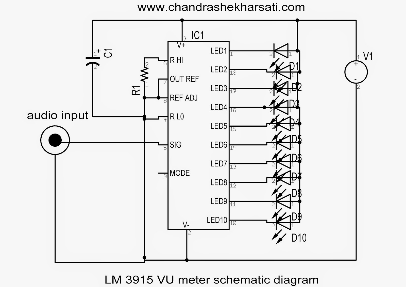 Lm3915 Vu Meter With Led Strips Part1 Chandra Shekhar Sati Circuit Bar Ic Lm3914 Picture Of Good Electronic Leds Audio Input Is Connected Across Pin No 5 And Gnd 248 Are Shorted To We Provide A Ve Supply Between 12v At 3