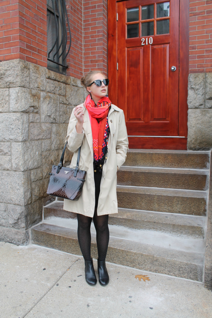 Chic city look - trench coat, LBD and Prada purse