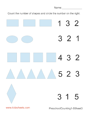 Counting Numbers 1-5 Worksheets, Kids Math Worksheets, Kids Worksheets, Math Worksheets