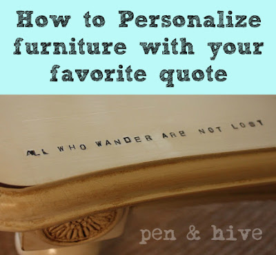 stamping favorite quotes on furniture
