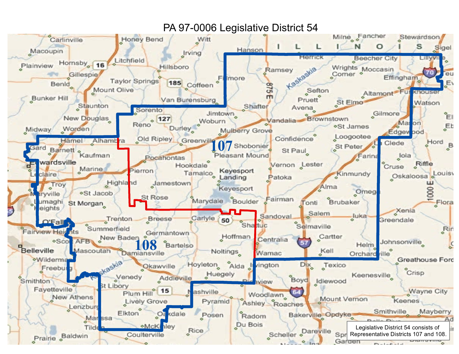 map of realigned illinois state senate district 54 and state representative district 107 and 108