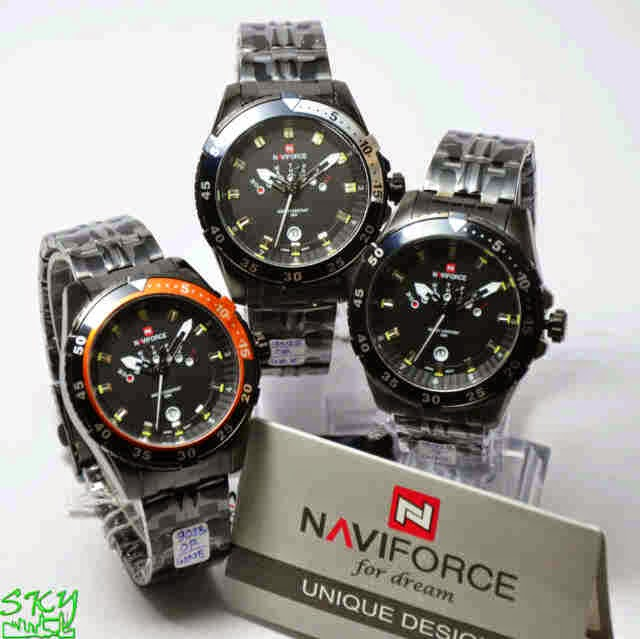 Naviforce 9029 FB Original hitam list orange,hitam,silver